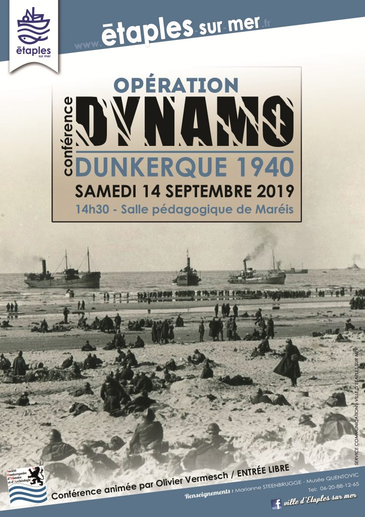Vue de la plage de Dunkerque lors de l'opération Dynamo en 1940, soldats sur la plage et navires de guerre en attente